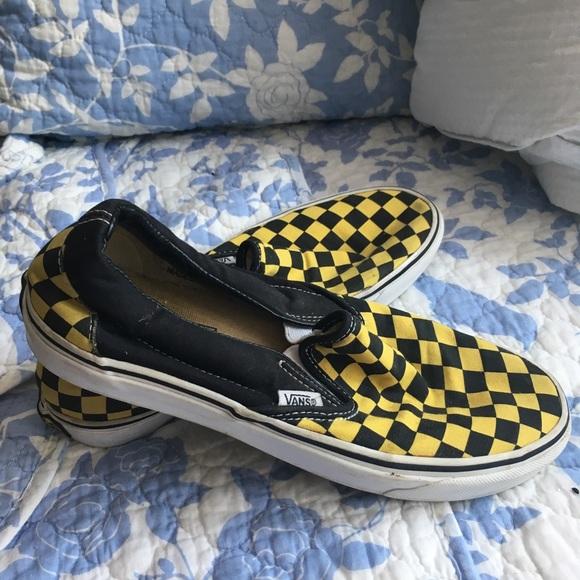 black and yellow slip on vans